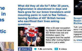 Afghanistan, il titolo del Daily Mail