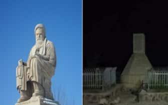 La statua di Abdul Azi Mazari decapitata a Bamiyan