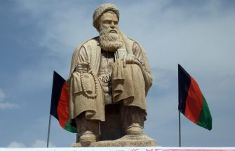 epa09418821 (FILE) - A statue of Abdul Ali Mazari who was the leader of the Hazara, a religious and ethnic minority in Afghanistan, is seen in Bamiyan valley, Afghanistan, 13 April 2011 (reissued 18 August 2021). Images circulated on social media on 18 August 2021 suggest that the statue of late Hazara leader Abdul Ali Mazari was blown up, according to reporters citing local civilians. Mazari was killed by Taliban militants in 1995.  EPA/NAQEEB AHMED *** Local Caption *** 02685265
