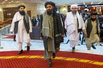 Taliban co-founder Mullah Abdul Ghani Baradar (C) arrives with other members of the Taliban delegation for attending an international peace conference in Moscow, Russia, 18 March 2021. Russia is hosting a peace conference for Afghanistan, bringing together government representatives and their Taliban adversaries along with regional observers in a bid to help jump-start the country's stalled peace process. The one-day gathering Thursday is the first of three planned international conferences ahead of a May 1 deadline for the final withdrawal of U.S. and NATO troops from the country, a date fixed under a year-old agreement between the Trump administration and the Taliban.  ANSA/ALEXANDER ZEMLIANICHENKO / POOL