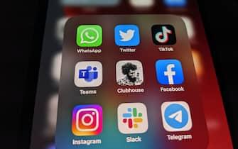 25 January 2021, Berlin: The logos of social media platforms WhatsApp, Twitter, TikTok, Microsoft Teams, Clubhouse, Facebook, Instagram, Slack and Telegram on an iPhone 12 Pro Max taken on Jan. 25, 2021. Photo: Christoph Dernbach/dpa