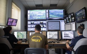 The control room of the new camera systems in Nea Vyssa. Greece strengthens its surveillance capabilities to fight the increased refugee and migrants flows from Turkey. The border protection at Greek Turkish borders in Evros region is reinforced, supported by the EU, with more Frontex personnel and vehicles, more Greek border police officers, drones, building a new fence and wall, watchtowers with thermal remote cameras and radar on the tower, new combat vehicles and control rooms. On 20 August 2021 Greek ministers visited Evros to inspect the process of the steel fence works and the border surveillance systems against the new expected migrant crossing as EU is expecting a new asylum seeker wave from people from Afghanistan.  Evros Region, Greece on June 18, 2021 (Photo by Nicolas Economou/NurPhoto via Getty Images)