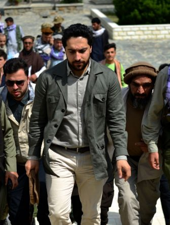 Ahmad Massoud (C) son of late Afghan commander Ahmad Shah Massoud, arrives to attend and address a gathering at the tomb of his late father in Panjshir province on July 5, 2021. (Photo by Ahmad SAHEL ARMAN / AFP) (Photo by AHMAD SAHEL ARMAN/AFP via Getty Images)