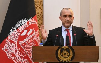 Vice President of Afghanistan Amrullah Saleh speaks during a function at the Afghan presidential palace in Kabul on August 4, 2021. (Photo by SAJJAD HUSSAIN / AFP) (Photo by SAJJAD HUSSAIN/AFP via Getty Images)