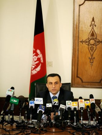 Afghan Intelligence chief Amrullah Saleh addresses media representatives at a press conference in Kabul on March 3, 2008. Five percent of Afghanistan is out of government control although Taliban operating in these areas have not set up parallel administrations, the intelligence chief said on March 3. Amrullah Saleh, head of the National Directorate of Security, also added to earlier government rejection of a US report that said the Taliban controlled 11 percent of Afghanistan and Kabul was in charge of only 30 percent. AFP PHOTO/SHAH Marai (Photo credit should read SHAH MARAI/AFP via Getty Images)