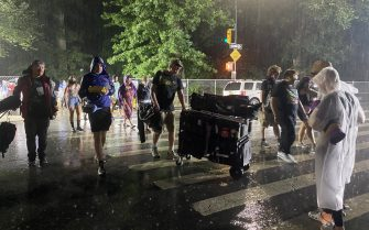 """NEW YORK, NY - AUGUST 21: Thousands of people were asked to leave Central Park during """"We Love NYC: The Homecoming Concert"""" due to weather as Tropical Storm Henri approaches in New York City, United States on August 21, 2021. (Photo by Tayfun Coskun/Anadolu Agency via Getty Images)"""