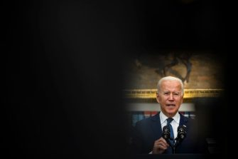 WASHINGTON, DC - AUGUST 22: U.S. President Joe Biden speaks in the Roosevelt Room on the continuing situation in Afghanistan and the developments of Hurricane Henri at the White House on August 22, 2021 in Washington, DC. The White House announced earlier that in a 24 hour period starting on August 21st that US military flights evacuated approximately 3,900 personnel and 35 coalition aircraft evacuated approximately 3,900 personnel. Tropical Storm Henri made landfall around Long Island, New York on Sunday. (Photo by Samuel Corum/Getty Images)
