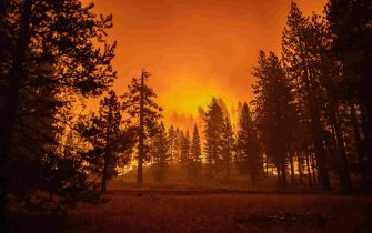 epa09437943 The Caldor Fire approaches a community of homes in Meyers, California, USA, 30 August 2021. The fire, which has so far burned more than 177,000 acres, caused authorities to issue an evacuation order for residents of the city of South Lake Tahoe.  EPA/CHRISTIAN MONTERROSA