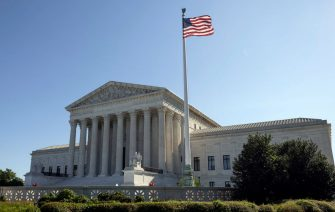 WASHINGTON, DC - SEPTEMBER 02: The U.S. Supreme Court is seen on September 02, 2021 in Washington, DC. The Supreme Court voted 5-4 not to stop a Texas law that prohibits most abortions after six weeks of pregnancy. (Photo by Kevin Dietsch/Getty Images)