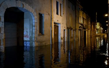 TOPSHOT - Flood waters are seen after heavy rain in Agen, southwestern France on September 8, 2021. (Photo by Philippe LOPEZ / AFP) (Photo by PHILIPPE LOPEZ/AFP via Getty Images)