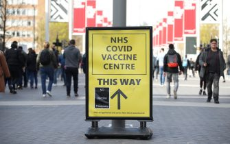 No Vaccine Passports protest sticker on a Vaccine Centre billboard outside Wembley Stadium, London, ahead of the Leicester v Southampton FA Cup semi-final, following the further easing of lockdown restrictions in England. Picture date: Sunday April 18, 2021. (Photo by Yui Mok/PA Images via Getty Images)