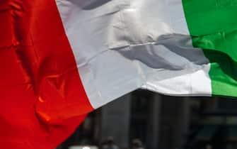 11/07/2021 Roma, Attesa Finale Europei Italia Inghilterra Bandiera Italia