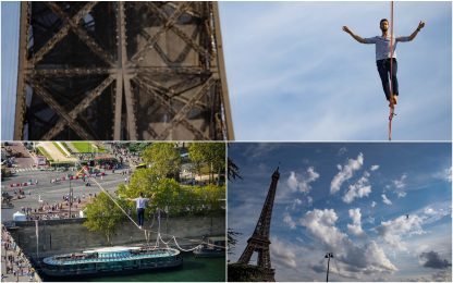 Parigi, funambolo percorre 600 metri sopra la Senna. LE FOTO