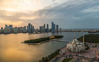 Sharjah,UAE - February 10: The view of Sharjah Skyline at Sunset on february 10, 2019 in Sharjah, United Arab Emirates. (Photo by Rustam Azmi/Getty Images)