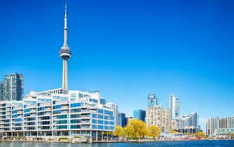 TORONTO - May 5, 2020: Marina and the downtown skyline at the Harbourfront in Toronto, Ontario. (Photo by: Anjelika Gretskaia/REDA&CO/Universal Images Group via Getty Images)