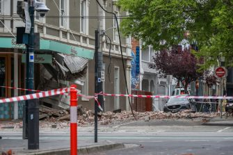 MELBOURNE, AUSTRALIA - SEPTEMBER 22: Damaged buildings (Betty's Burgers) following an earthquake are seen along Chapel Street  on September 22, 2021 in Melbourne, Australia. A magnitude 6.0 earthquake has been felt across south-east Australia. The epicentre of the quake was near Mansfield, Victoria with tremors felt as far away as Canberra, Sydney and Tasmania. (Photo by Asanka Ratnayake/Getty Images)
