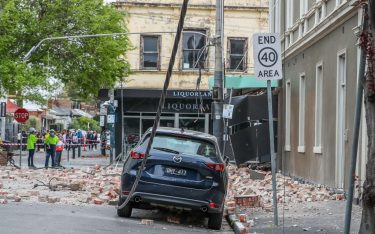 MELBOURNE, AUSTRALIA - SEPTEMBER 22: Damaged buildings along Chapel Street are seen following an earthquake on September 22, 2021 in Melbourne, Australia. A magnitude 6.0 earthquake has been felt across south-east Australia. The epicentre of the quake was near Mansfield, Victoria with tremors felt as far away as Canberra, Sydney and Tasmania. (Photo by Asanka Ratnayake/Getty Images)