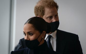 Prince Harry and Meghan Markle, the Duke and Duchess of Sussex, visit the One World Trade Center observation deck in New York on September 23, 2021. (Photo by Ed JONES / AFP) (Photo by ED JONES/AFP via Getty Images)