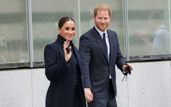 NEW YORK, NEW YORK - SEPTEMBER 23: Prince Harry, Duke of Sussex, and Meghan, Duchess of Sussex, visit One World Observatory on September 23, 2021 in New York City. (Photo by Taylor Hill/WireImage)