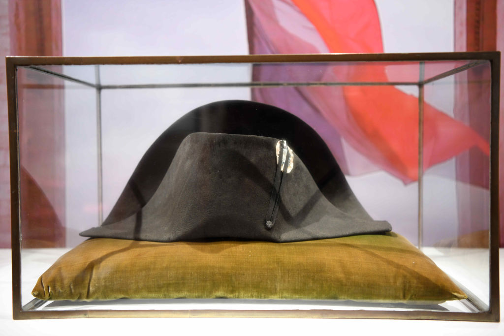 PARIS, FRANCE - SEPTEMBER 21: One of Napoleon Bonaparte's famous black-felt bicorne hats is on display during an online auction titled 'Influencing the Arts: Napoleon', marking the 200th anniversary of Napoleon's death, at Sotheby's Paris on September 21, 2021 in Paris, France. (Photo by Li Yang/China News Service via Getty Images)