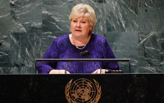 epa09477963 Prime Minister of Norway, Erna Solberg, speaks at the SDG Moment event as part of the UN General Assembly 76th session General Debate in UN General Assembly Hall at the United Nations Headquarters in New York City, USA, 20 September 2021.  EPA/JOHN ANGELILLO / POOL