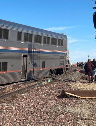 epa09488872 A view of a derailed Amtrak train, outside of Joplin, Montana, USA, 25 September 2021. According to a statement from Amtrak, the train was en route to Seattle after departing from Chicago, with 146 passengers and 16 crew members onboard. According to the Liberty County Sheriff's Department, three people died in the accident. The cause of the accident is not known at this time.  EPA/Jacob Cordeiro   EDITORIAL USE ONLY/NO SALES