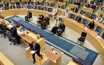 epa09467553 Swedish Prime Minister Stefan Lofven gives  his government declaration at the Opening of the Parliamentary Session at the Riksdag in Stockholm, Sweden, 14 September 2021.  EPA/Anders Wiklund SWEDEN OUT SWEDEN OUT