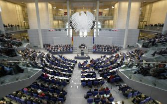 BERLIN, Germany:  The plenum of the Bundestag (lower house of parliament) is seen as Angela Merkel of the Christian Democratic Union (CDU) gives her first speech to parliament as German Chancellor on 30 November 2005 in Berlin. She said that her left-right government would return the country to its status as an economic powerhouse. AFP PHOTO JOHN MACDOUGALL  (Photo credit should read JOHN MACDOUGALL/AFP via Getty Images)