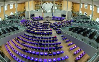 A general overview shows the plenary  during the last session of the season a session of the German lower house of parliament Bundestag in Berlin on June 25, 2021. (Photo by Tobias Schwarz / AFP) (Photo by TOBIAS SCHWARZ/AFP via Getty Images)