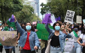 MEXICO CITY, MEXICO - SEPTEMBER 28: Demonstrators gather to march on the International Safe Abortion Day in Mexico City, Mexico on September 28, 2021. (Photo by Silvana Flores/Anadolu Agency via Getty Images)