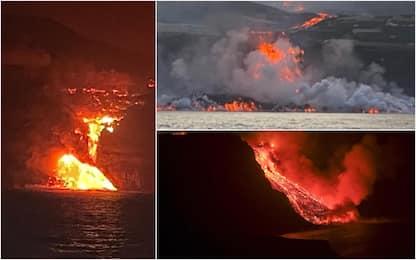 Canarie, la lava del vulcano di La Palma ha raggiunto l'Oceano. FOTO
