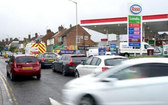 Motorists queue for fuel at an ESSO petrol station in Ashford, Kent. Picture date: Friday October 1, 2021. (Photo by Gareth Fuller/PA Images via Getty Images)