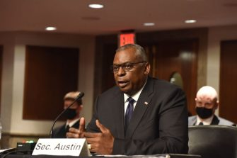 WASHINGTON, DC - SEPTEMBER 28: Lloyd Austin, U.S. secretary of defense, speaks during a Senate Armed Services Committee hearing at Dirksen Senate Office Building on Capitol Hill on September 28, 2021 in Washington, DC. (Photo by Sha Hanting/China News Service via Getty Images)