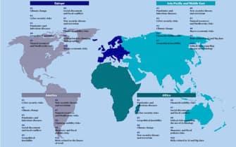 Classifica dei rischi emergenti secondo Axa divisa per continenti