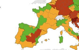 regioni in verde e arancio nella mappa