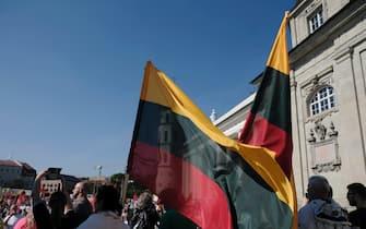 Una manifestazione a Vilnius, in Lituania