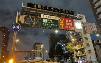 epa09511383 An highway board reads  Entrance closed due to earthquake  following an earthquake in Tokyo, Japan, late 07 October 2021. A magnitude 6.1 earthquake hit Tokyo region late 07 October but no tsunami warning have been issued by the Japan Meteorological Agency.  EPA/JIJI PRESS EDITORIAL USE ONLY/NO ARCHIVE/JAPAN OUT