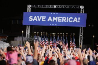Former U.S. President Donald Trump speaks during a Save America rally at the Iowa State Fairgrounds in Des Moines, Iowa, U.S., on Saturday, Oct. 9, 2021. Trump has been hinting about another presidential bid, even as he has tried to steer clear of activities that would trigger federal election laws that would require him to register as a candidate -- and limit spending. Photographer: Dan Brouillette/Bloomberg via Getty Images