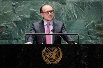 NEW YORK, NEW YORK - SEPTEMBER 23: Austrias Foreign Minister Alexander Schallenberg addresses the 76th Session of the U.N. General Assembly remotely at U.N. headquarters on September 23, 2021 in New York City. More than 100 heads of state or government are attending the session in person, although the size of delegations are smaller due to the Covid-19 pandemic. (Photo by Mary Altaffer-Pool/Getty Images)
