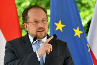 Austrian Foreign Minister Alexander Schallenberg gives a speech during festivities at a memorial stone commemorating the historical removal of fencing that represented the Iron Curtain, near Sopron and close to the Austrian border, some 220kms west of Budapest, on June 27, 2019. - 30 years ago, on June 27, 1989 Austrian Foreign Minister Alois Mock and his Hungarian counterpart Gyula Horn snipped open the Iron Curtain in an emblematic gesture. (Photo by ATTILA KISBENEDEK / AFP)        (Photo credit should read ATTILA KISBENEDEK/AFP via Getty Images)