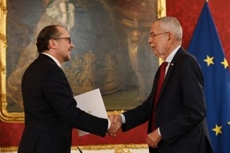VIENNA, AUSTRIA - OCTOBER 11: Alexander Schallenberg, previously Austrian foreign minister, receives his inauguration papers from Austrian President Alexander van der Bellen during the swearing-in ceremony of the new Austrian chancellor and the new Austrian foreign minister on October 11, 2021 in Vienna, Austria. Schallenberg is taking over following the sudden resignation of Chancellor Sebastian Kurz over the weekend as a consequence of a police investigation into possible illegal activities by Kurz and his campaign team in 2016. (Photo by Thomas Kronsteiner/Getty Images)