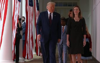 WASHINGTON, DC - SEPTEMBER 26: U.S. President Donald Trump arrives to introduce 7th U.S. Circuit Court Judge Amy Coney Barrett (R) as his nominee to the Supreme Court in the Rose Garden at the White House September 26, 2020 in Washington, DC. With 38 days until the election, Trump tapped Barrett to be his third Supreme Court nominee in just four years and to replace the late Associate Justice Ruth Bader Ginsburg, who will be buried at Arlington National Cemetery on Tuesday. (Photo by Chip Somodevilla/Getty Images)
