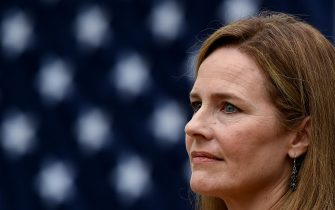 Judge Amy Coney Barrett speaks after being nominated to the US Supreme Court by President Donald Trump in the Rose Garden of the White House in Washington, DC on September 26, 2020. - Judge Amy Coney Barrett, who was nominated Saturday to the US Supreme Court, is a darling of conservatives for her religious views but detractors warn her confirmation would shift the nation's top court firmly to the right. (Photo by Olivier DOULIERY / AFP) (Photo by OLIVIER DOULIERY/AFP via Getty Images)