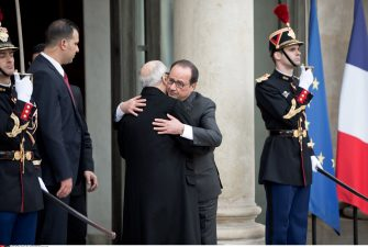 Beji Caid Essebsi (Beji Caid el Sebsi), Tunisian President, came to show solidarity with France, meeting Francois Hollande (French President), at the Elysee Palace, Paris, France, 14 November 2015. Photo the by Nicolas Messyasz / Sipa Press/NICOLASMESSYASZ_2015_11_14e_170a/Credit:NICOLAS MESSYASZ/SIPA/1511141328 ( - 2015-11-14, NICOLAS MESSYASZ/SIPA / IPA) p.s. la foto e' utilizzabile nel rispetto del contesto in cui e' stata scattata, e senza intento diffamatorio del decoro delle persone rappresentate
