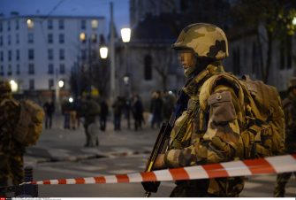 French police and special forces launch operation to storm Saint-Denis flat containing up to six Paris terrorist. Mastermind behind Friday's massacres, Abdelhamid Abaaoud, 27, believed to be inside the Paris apartment. Female suicide bomber detonated explosive vest after firing on police while one suspect killed by rooftop sniper. At least five police have been injured in the ferocious gunfight and the terrorists also shot and killed a police dog. Saint-Denis, FRANCE-18/11/2015. JEROME MARS/JDD/SIPA PRESS/JDD_1224.57/Credit:JEROME MARS/JDD/SIPA/1511181244 (SAINT DENIS - 2015-11-18, JEROME MARS/JDD/SIPA / IPA) p.s. la foto e' utilizzabile nel rispetto del contesto in cui e' stata scattata, e senza intento diffamatorio del decoro delle persone rappresentate