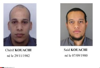 Cherif Kouachi, (L) and Said Kouachi, (R). Combo shows handout photos released by French Police in Paris. Suspects Cherif Kouachi (L), aged 32, and his brother Said Kouachi (R), aged 34, wanted in connection with an attack at the satirical weekly Charlie Hebdo in the French capital that killed at least 12 people. French police launched an appeal to the public for information./SIPA_1317.04/Credit:SIPA/SIPA/1501081325 ( - 2015-01-08, SIPA/SIPA / IPA) p.s. la foto e' utilizzabile nel rispetto del contesto in cui e' stata scattata, e senza intento diffamatorio del decoro delle persone rappresentate