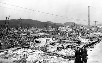 Desolation and dilapidated structures in Hiroshima following the atomic bombing of Japan, 1945. Image courtesy US Department of Energy. (Photo via Smith Collection/Gado/Getty Images).