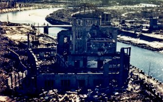 HIROSHIMA, JAPAN:  This September 1945 file picture shows the remaining of the Hiroshima Prefectural Industry Promotion Building, known as the Atomic-Bomb Dome, which was later preserved as a monument. (Photo credit should read AFP via Getty Images)