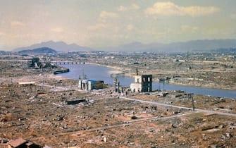 (Original Caption) Hiroshima, Japan: Aerial view of Hiroshima, Japan, after atomic bombing during World War II.