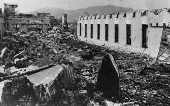 6th August 1945:  The remains of the barracks at the Japanese Army Divisional Grounds, 4200 feet from where the atomic bomb landed at Hiroshima.  (Photo by Keystone/Getty Images)
